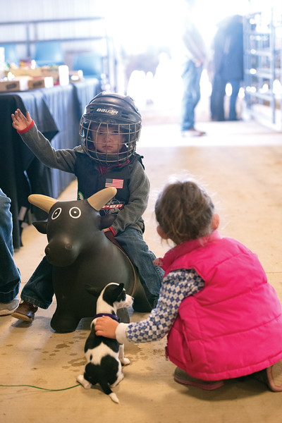 Matthew Gaston | The Sheridan Press<br>Aspiring bull rider Eli Ruby, 2, shows off his riding skills for a small crowd at the SWheridan College Agripark during the WYJRA Rodeo Saturday, June 22, 2019.