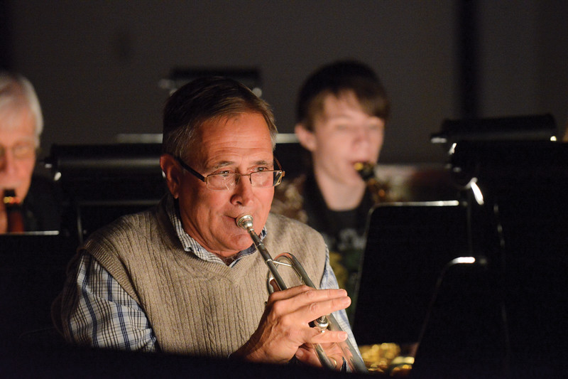"Ashleigh Fox | The Sheridan Press<br /> <br /> Dave Knutson, former director of the community band in Sheridan, plays trumpet with the pit orchestra for ""Sister Act"" at the WYO Theater 2017 Gala on Saturday."