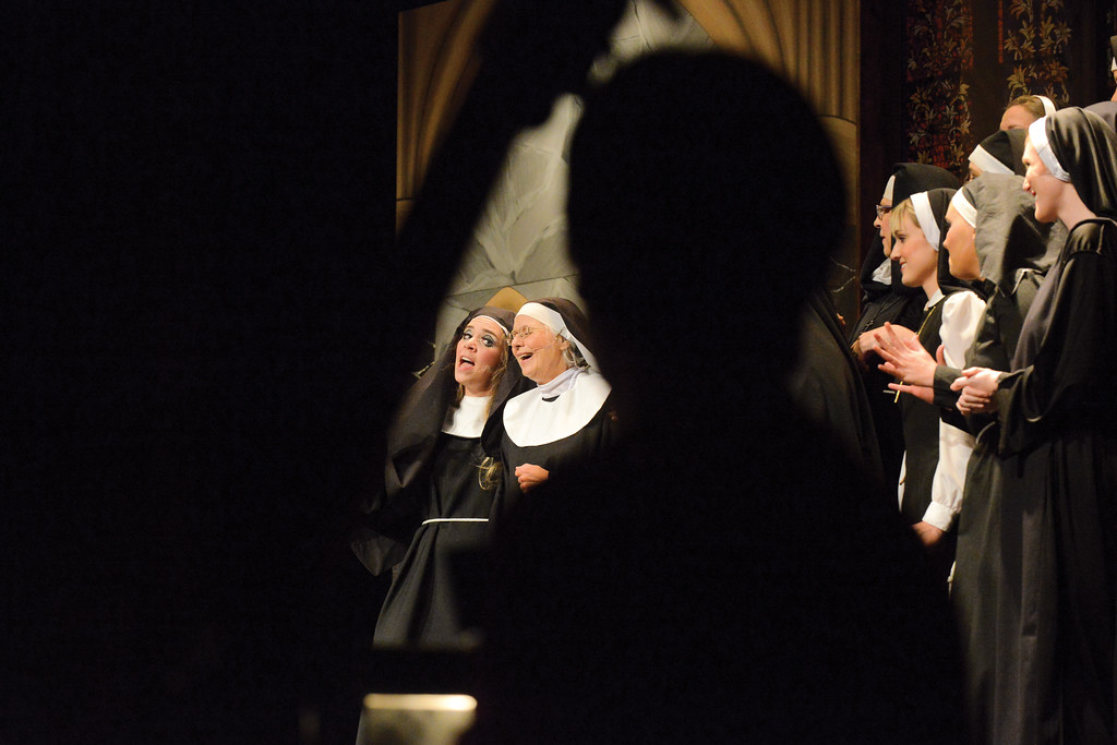 "Ashleigh Fox | The Sheridan Press<br /> <br />  Danielle Law (Deloris Van Cartier) and Pat Tomsovic (Sister Mary Lazarus) lead the choir to ""Raise Your Voice"" during the WYO Theater 2017 Gala performance of ""Sister Act""."