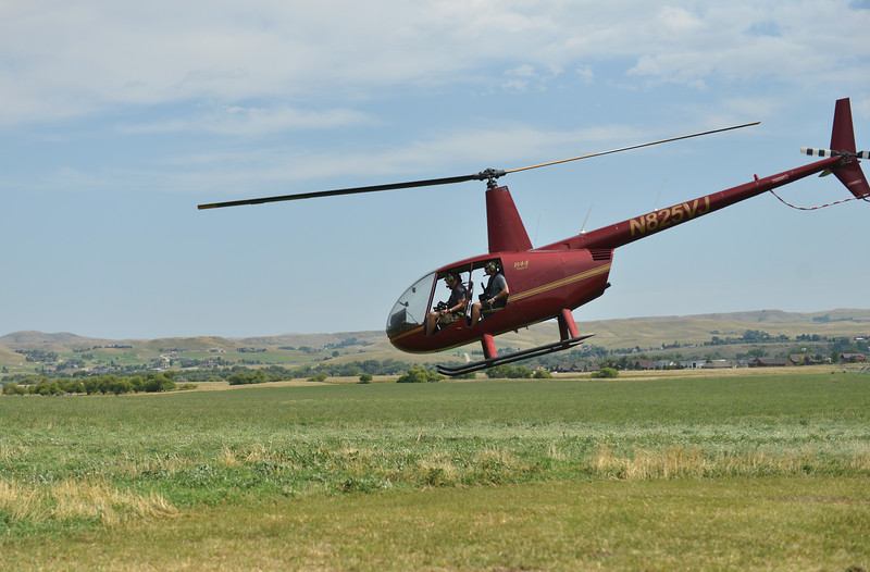 Ryan Patterson | The Sheridan Press<br /> A helicopter takes off during the WYO West Warriors Foundation weekend at the Dow Ranch Friday, Aug. 31, 2018. The five-day event brought more than 30 veterans and their friends and family to the Sheridan area for camaraderie and relaxation.