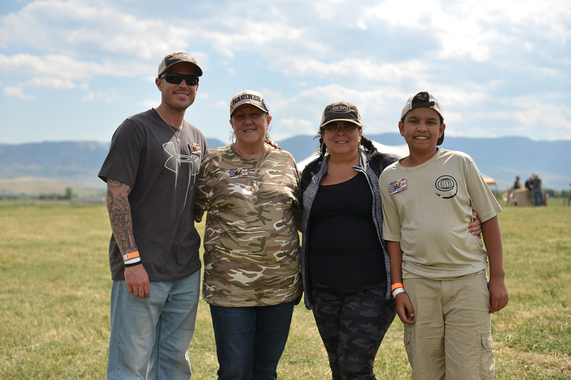 Ryan Patterson | The Sheridan Press<br /> From left: Gold Star family members Tyler Layfield, Dianne Layfield, Tiffany Hicks and Jayden Hicks smile during the WYO West Warriors Foundation weekend at the Dow Ranch Friday, Aug. 31, 2018. Their family member Travis Layfield died in combat in Ramadi, Iraq, in 2004 at age 19. The five-day event brought more than 30 veterans and their friends and family to the Sheridan area for camaraderie and relaxation.