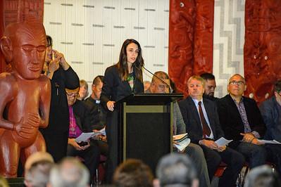 Jacinda Ardern at Te Whare Rūnanga, Waitangi 2021