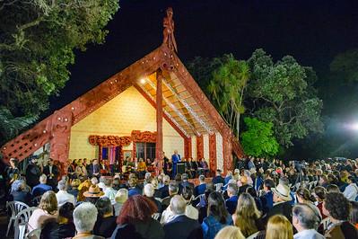 Waitangi Trust Chairman, Pita Tipene opens the dawn service at Te Whare Rūnanga