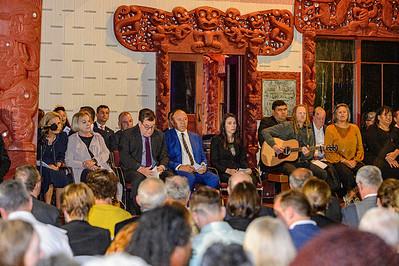 Dignitaries gathered for the dawn service at Te Whare Rūnanga, Waitangi 2021