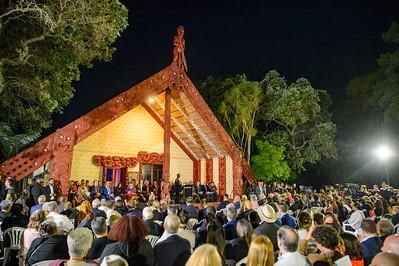 Dawn ceremony at Te Whare Rūnanga, Waitangi 2021