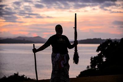 Welcoming the sunrise, Waitangi 2021