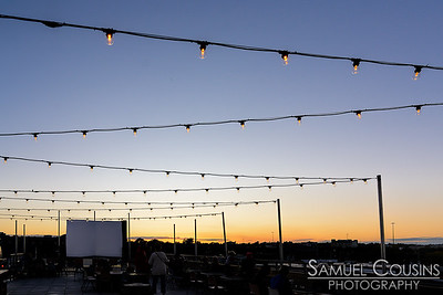 Sunset on the roof patio at Bayside Bowl.