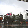 Speakers start. Just a tantalizing glimpse of blue sky, which was followed by a pause in the rain. Which was then followed by a downpour.