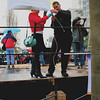Dolores Meehan, co-founder of Walk for Life, and Father Joseph Fessio, founder of Ignatius Press finishing stage setup.