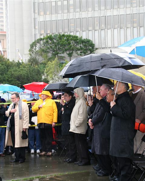 Bishops' and clerics' corner during national anthem.