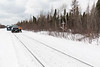 Walk for murdered and missing indigenous women and girls in Moosonee 2018 February 14th. Ontario Northland Railway maintenance of way crew that shoveled a path to the Josephine Chakasim memorial.