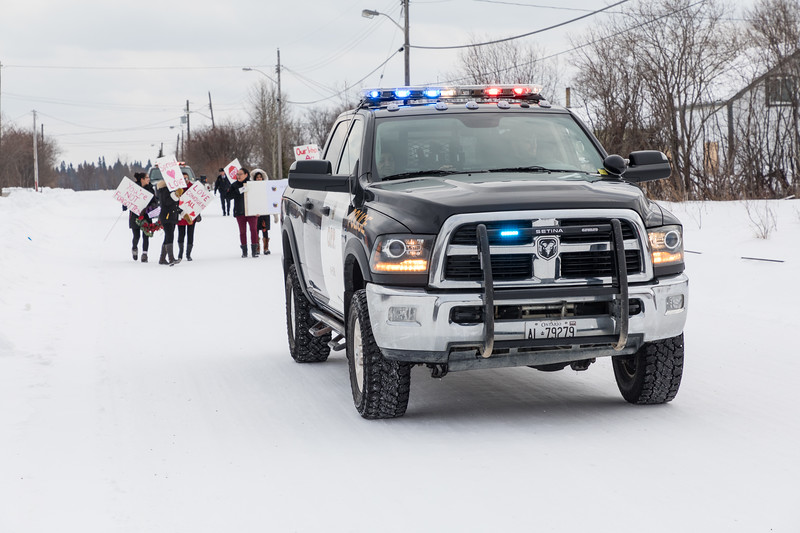 Walk for murdered and missing indigenous women and girls in Moosonee 2018 February 14th.
