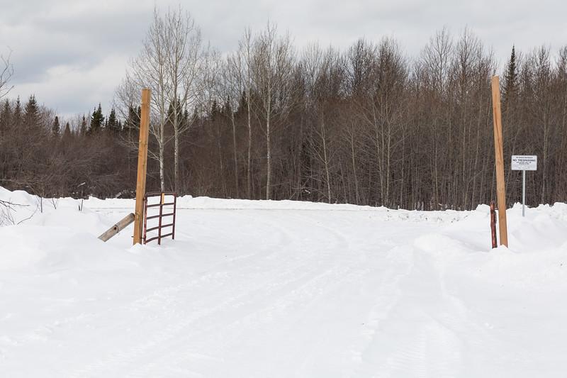 Gate at the end of Gardiner Road in Moosonee at the tracks. Ontario Northland Railway.