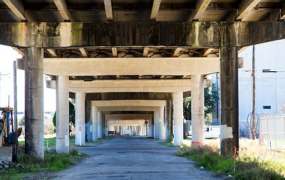 The fourth side of the warehouse is under the Elysian St. overpass.