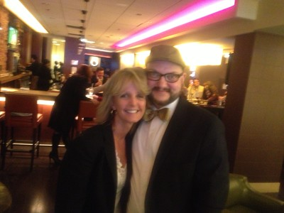Laurie with Ryan Seeley of New York, in the bar after the long day