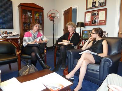 Diane makes a point to Sara Schaumburg, legislative assistant to representative Ed Markey of Massachusetts.