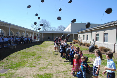 On the first day of the papal conclave students at St. Mary's School, Rome, release black balloons in lieu of black smoke to indicate the cardinals have not reached a decision surrounding the election of a new pope. (Photo Courtesy of St. Mary's School)