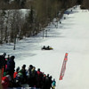 """Skier #8 - Total face plant seems to have rearranged his 'face'? Love the chant """"Do it again!"""""""