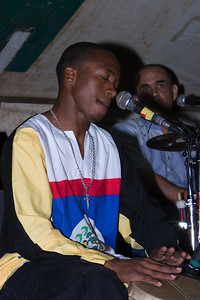 Josh with Andy Palacio and the Garifuna Collective performing live at Y-Not Island in Dangriga, Stann Creek, Belize.