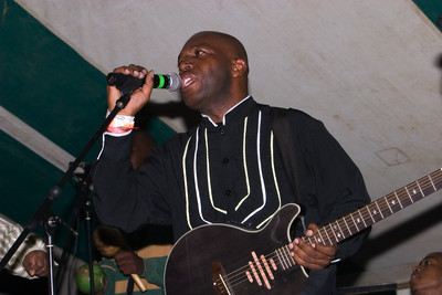 Andy Palacio and the Garifuna Collective performing live at Y-Not Island in Dangriga, Stann Creek, Belize.