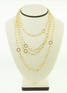 "This 72"", 14k gold necklace can be layered numerous ways & worn with your favorite t-shirt or night out on the town! Looks great with v-neck sweaters & t-shirts as well!"