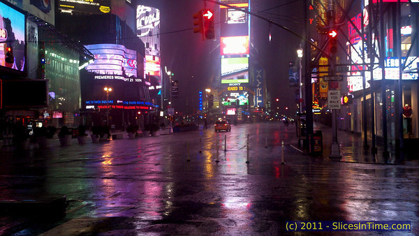 Times Square, New York City is deserted due to the impending storm