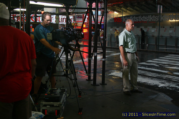 Harry Smith in Times Square waiting to go live with Brian Williams on the NBC Nightly News a few hours before Hurricane Irene hit, August 27, 2011
