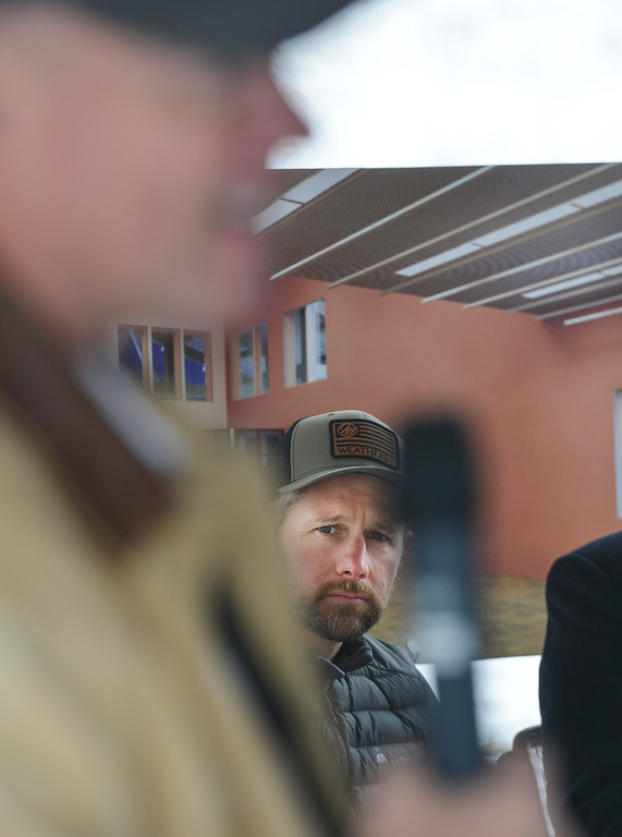 Justin Sheely   The Sheridan Press<br /> Adam Weatherby looks on as Gov. Matt Mead speaks during the groundbreaking ceremony at the Weatherby site at High Tech Park in north Sheridan Friday, April 6, 2018.