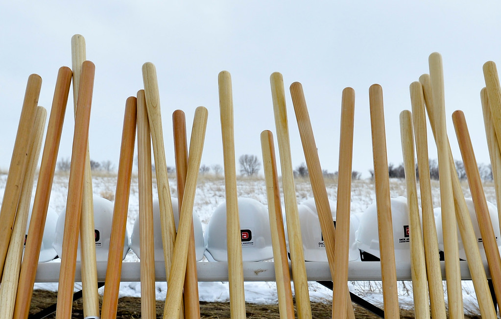 Justin Sheely   The Sheridan Press<br /> Shovels and hard hats are lined out during the groundbreaking ceremony at the Weatherby site at High Tech Park in north Sheridan Friday, April 6, 2018.