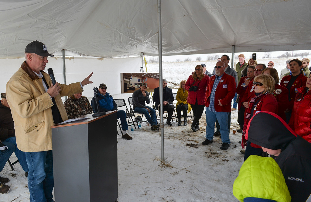 Justin Sheely   The Sheridan Press<br /> Gov. Matt Mead speaks during the groundbreaking ceremony at the Weatherby site at High Tech Park in north Sheridan Friday, April 6, 2018.