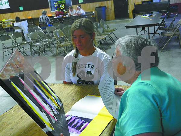-Messenger photo by Emilie Nelson <br /> <br /> Breanna Anderson, a memeber of the Gowrie Groundbreakers 4-H Club, listens as visual arts judge Bertha Shaw critiques her painting during judging day at the Webster County Fair Tuesday afternoon.