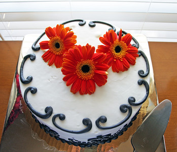 A white cake with chocolate designs and red flowers on it.