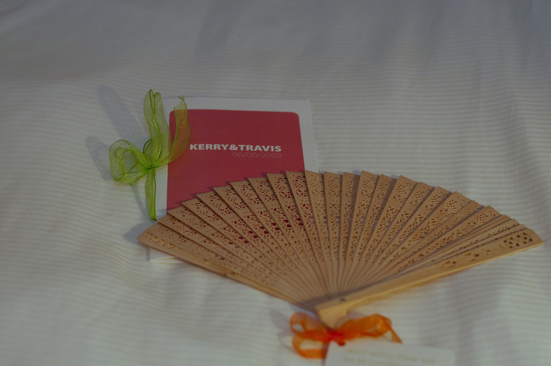 Kerry and Travis had interesting printed materials and the fan was a nice touch for those not use to a Carolina summer afternoon wedding