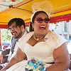 A jeepney as a carriage for the wedded couple, so much fun!