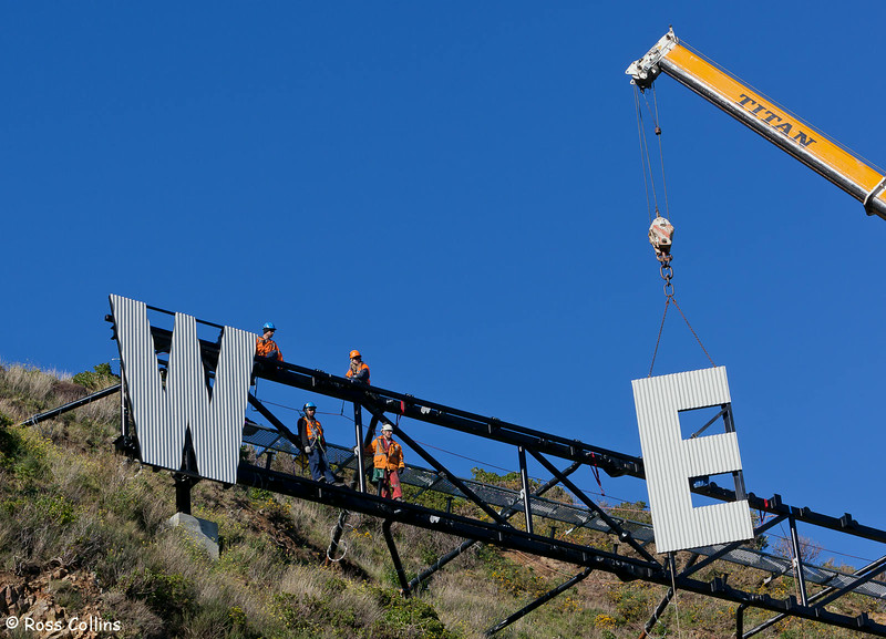 "Erection of ""Wellington Blown Away"", Miramar Cutting, Wellington, 27 July 2012"