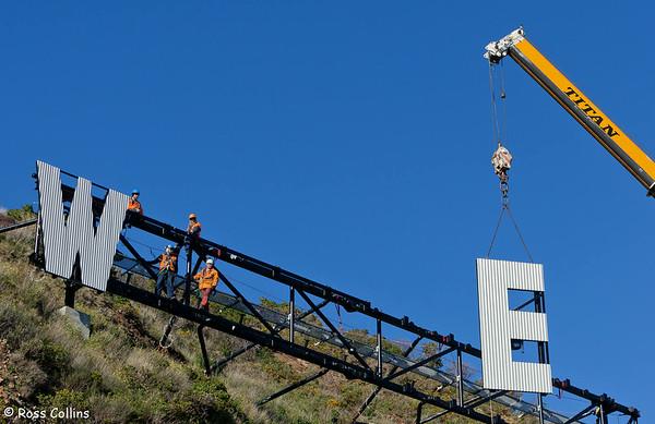 "Erection of ""Wellington Blown Away"", Miramar Cutting, Wellington, 27 July 2012"