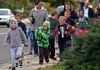 Students and family members head for West Broad Street Elementary School on Walk to School Day.   (The Reporter/Geoff Patton)