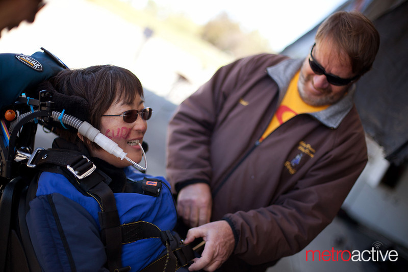 "Kameda is helped out her harness and suit following her jump. ""This was the best thing I've ever done in my life,"" she said. ""I know none of you want to hear this, but these will be the pictures I use at my funeral.""<br /> <br /> Photo by Jessica Shirley-Donnelly, JRSD Photography"