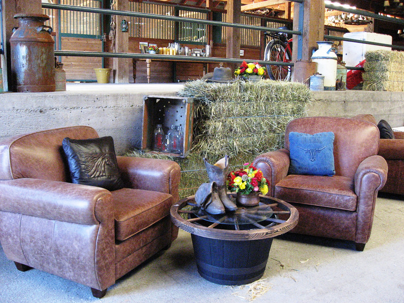 Brown Leather Club Chairs, Western Table & Decor