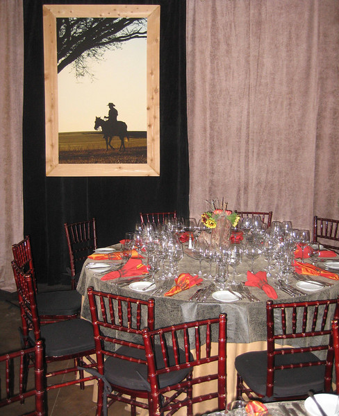 4' x 6' Custom Frame with Cowboy Image, Fabric draping, tablescape
