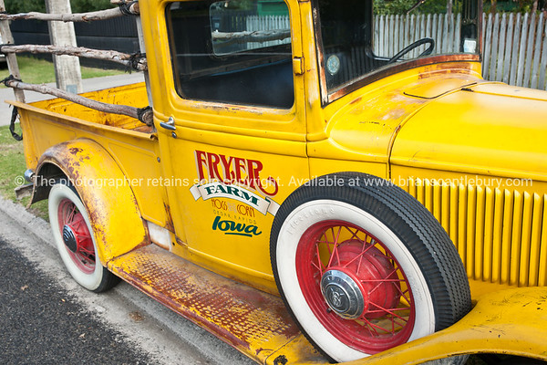 Whangamata Beach Hop 2012. Yellow Fryers Farm Truck, from Iowa.