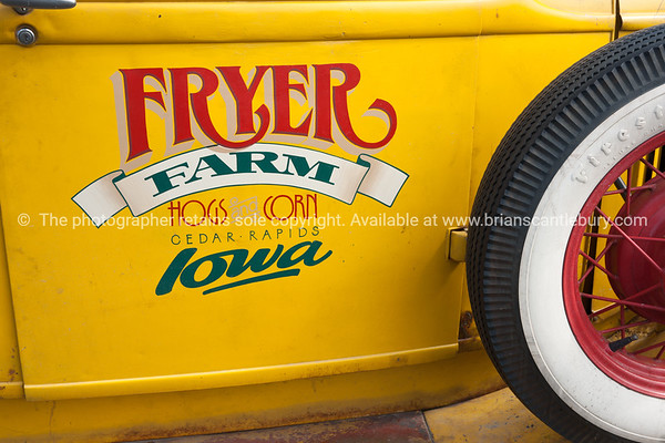 Whangamata Beach Hop 2012. Fryer Farm, Yellow door on truck.