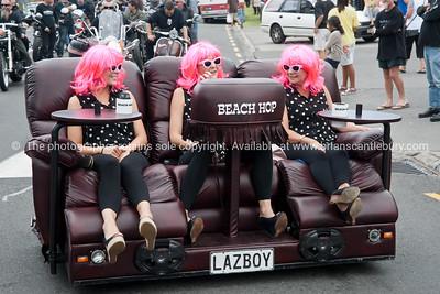 Whangamata Beach Hop 2012. The Beach Hop Girls on mobile Lazyboy.