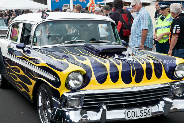 Whangamata Beach Hop 2012. yellow and black flame design.<br /> COL' S56.