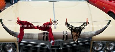 Whangamata Beach Hop 2012. Bulls horn on bonnet put to another use.