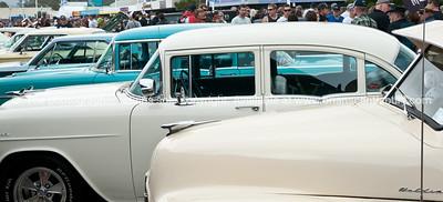 Whangamata Beach Hop 2012. retro cars lined up.