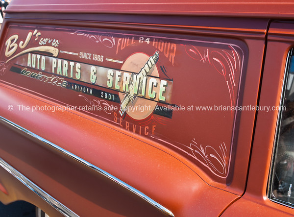Whangamata Beach Hop 2012. Signed panel van. BJ's Auto Parts and Service.
