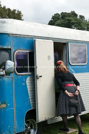 Whangamata Beach Hop 2012. Retro caravans.