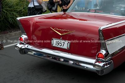 Whangamata Beach Hop 2012. Red Chevrolet, 1 1957 1.
