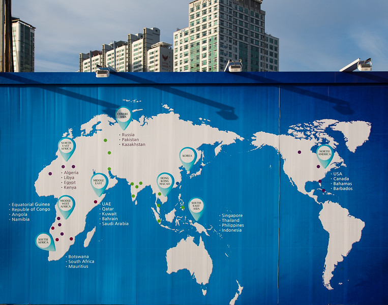 12 April 2015 - World map on building site hoarding, Busan, South Korea